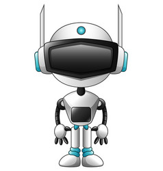 White robot cartoon isolated on white background vector