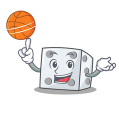 With basketball dice character cartoon style vector