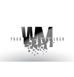 Wm w m pixel letter logo with digital shattered vector