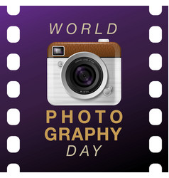 world photography day eventa vintage camera vector image