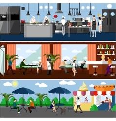 Banner with restaurant interiors kitchen vector