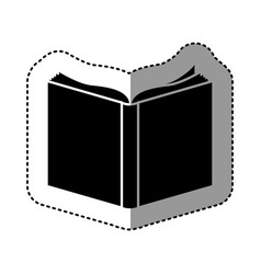 Black silhouette sticker with book vector