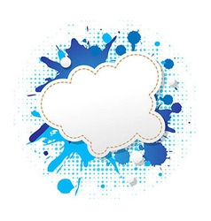 Blue grunge poster with abstract speech bubbles vector