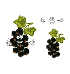 Cartoon black currant fruit with berries vector image vector image