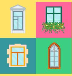 cartoon windows set on a color background vector image