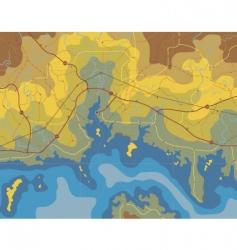 coastal map vector image vector image