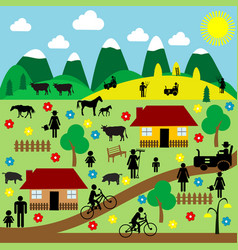 countryside scene with pictograms vector image vector image