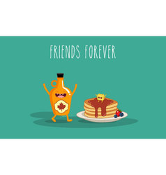 maple syrup pancake vector image