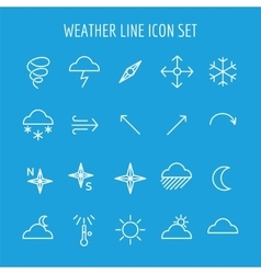 Blue and white weather line icon vector image vector image