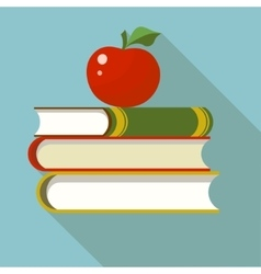 Books with apple flat vector image