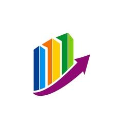 Business finance chart colorful arrow logo vector