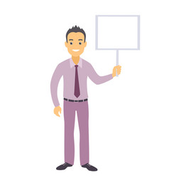 business man character with a blank message board vector image vector image