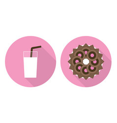 Flat cup of glass of milk and plate with cookies vector