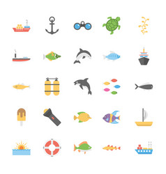 icons pack of ocean and sea life vector image