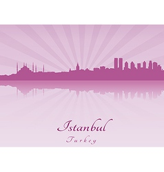 Istanbul skyline in purple radiant orchid vector image