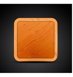 Mobile app icon - wood textured square blank vector image vector image