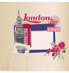 Scrapbook Design Elements - London Vintage Card vector image vector image