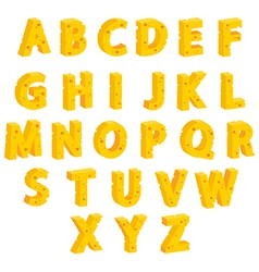 Cheese decorative letters vector image