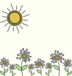 Flower field card vector image vector image