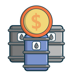Oil barrels with dollar sign icon cartoon style vector
