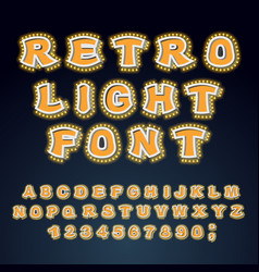 retro light font glowing letters alphabet with vector image vector image