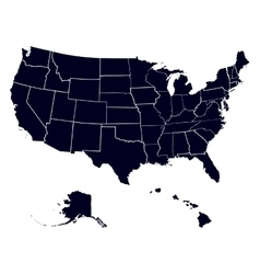 Set states in the map of America vector image