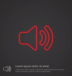 sound outline symbol red on dark background logo vector image vector image