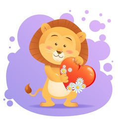 Cute toy lion pet isolated holding heart vector