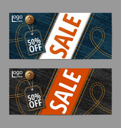 denim texture jeans bannersale banners design vector image vector image