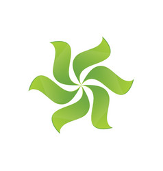 green leaves swirl logo image vector image