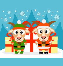 happy new year card with goat santa claus and goat vector image
