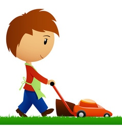 man cutting the grass with lawn mower vector image