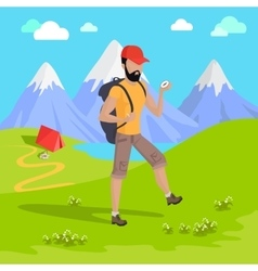 Mountain Tourism Concept vector image vector image