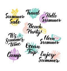 summer time hand drawn quotes vector image vector image