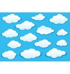 White fluffy cloud icons on blue sky vector image vector image