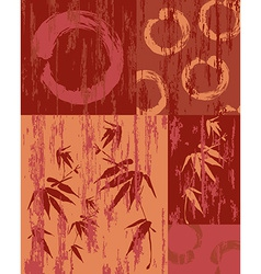 Zen circle and bamboo vintage wood poster vector image vector image