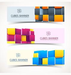 3d cubes banners set vector image