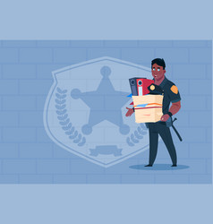 African american policeman fired hold box vector