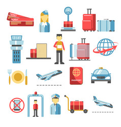 air travel plane and airport terminal icons vector image