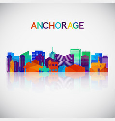 Anchorage skyline silhouette in colorful vector