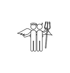 angel and demon line icon vector image