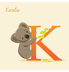 Animal alphabet with koala vector