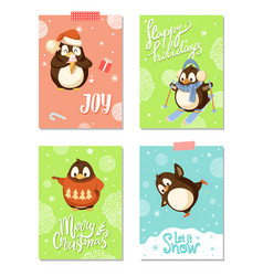 arctic penguins christmas holiday greeting cards vector image