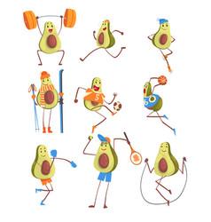 Avocado cartoon character doing sports set funny vector