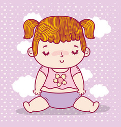 Baby girl with pigtails and diaper over clouds vector