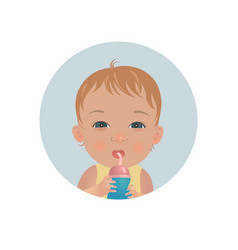 baby with bottle of milk drinking toddler emoji vector image
