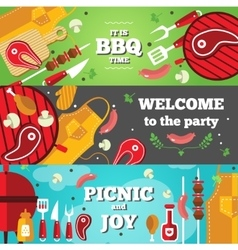 Bbq Flat Horizontal Banner Set vector