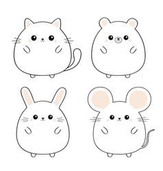 bear mouse cat kitten kitty rabbit hare icon set vector image