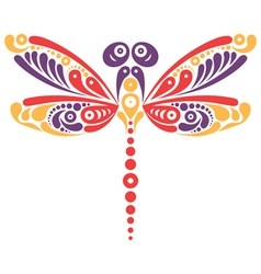 Beautiful dragonfly tattoo vector