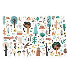 Big forest plants clipart collection on white vector